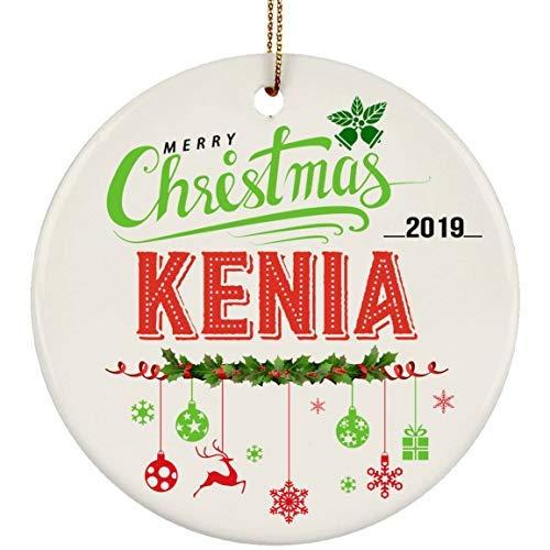 Bru565und - Ornamento in Ceramica per Albero di Natale 2019 con Nome Kenia, 7,6 cm, Colore: Bianco
