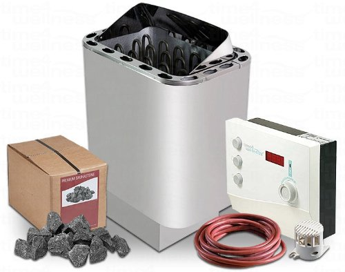 Saunaofen Nordex 6/8 / 9 kW time4wellness Saunasteuerung K2 mit Vorwahlzeit Saunasteine Ofenkabel (8 kW für Kabine 7-13m³)