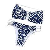 NINGSUN Due Pezzi Costume da Bagno Sexy da Donna Realizzato in Bikini con Reggiseno Imbottito Push-up Spiaggia di Sabbia Beachwear Swimwear Plaid Stampa Intimo Set (Bianca, M)
