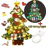 FunPa Fieltro Árbol de Navidad, DIY Decoración del árbol de Navidad Decoración Colgante para Niños 30PCS Ornamento de Adorno LED Luces de Navidad