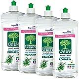 L'Arbre Vert - Detersivo liquido per piatti, fragranza: rosmarino, confezione da 750 ml, lotto da 4