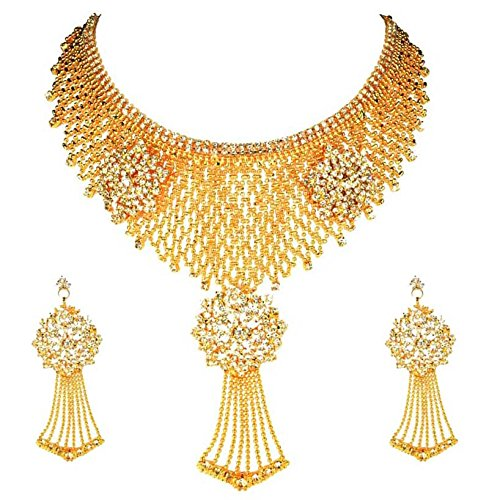 Eshopitude Cz American Diamond Gold Plated Necklace & Earrings Set For Women
