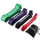 CANWAY Bande di Resistenza Set di 4 Pull Up Elastici Fitness in Gomma Naturale Bande Elastiche Fitness per Esercizi Pesanti ed Allena per la Forza
