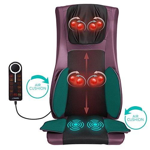 Sedile Massaggiante Shiatsu, Massaggiatore Schiena e Collo con Calore, Compressione D'aria, Massaggio Impastante in Profondità con Vibrazioni per Cervicale Intera Schiena Glutei Cosce