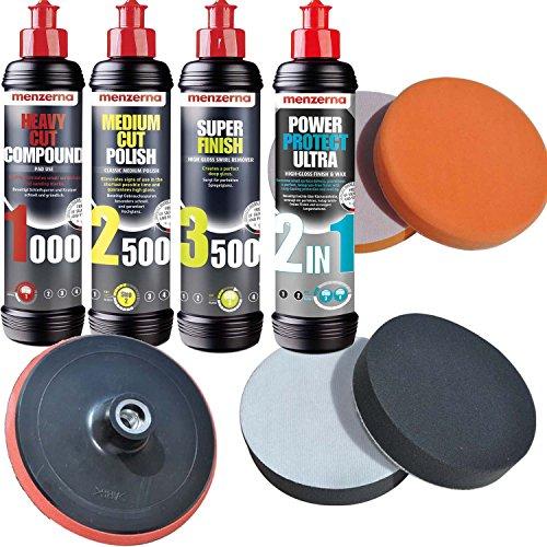Craft-Equip Menzerna 1000 + 2500 + 3500 + Ultra 2in1 + Schwämme + Teller Polierset Set-MENZ4