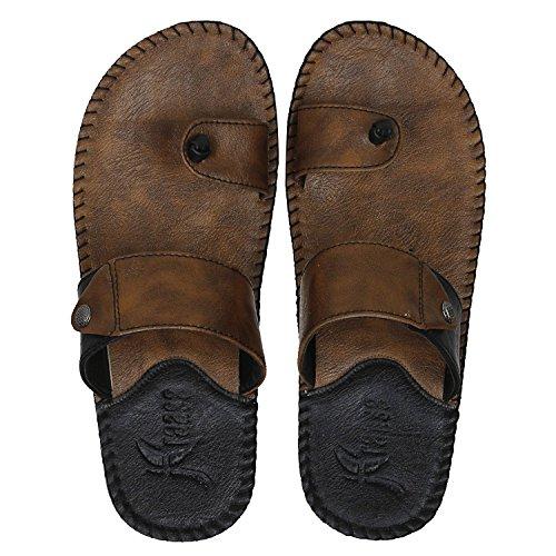 Kraasa Men's Camel Black Synthetic Slippers - 9