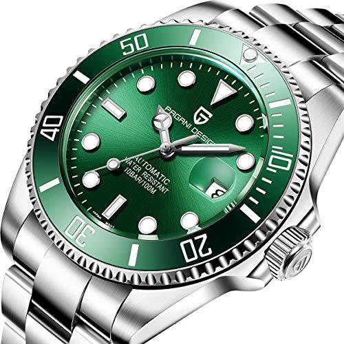 Pagani design 100 Impermeabile orologio analogico uomo resistente all'acqua con cinturino in acciaio...