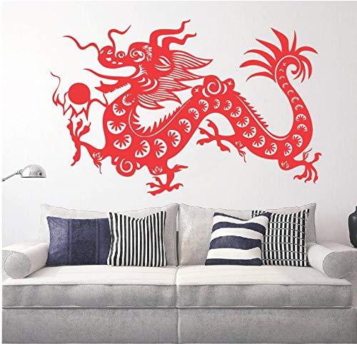 hllhpc Wall Sticker Vinile Cinese Dragon Fantasy Mascot Simbolo Fai da Te Lucky Dragon Home Decor...