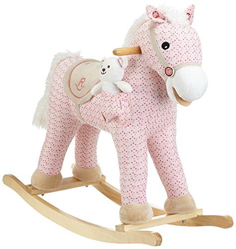 Milly Mally Pony - Cavallo a dondolo giocattolo a dondolo con effetti sonori orsacchiotto, Rosa