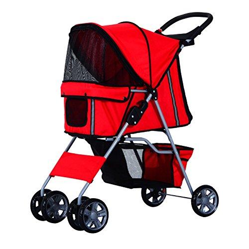 Pawhut Passeggino per Cani Carrello per Animali Domestici Carrello Carrozzina 75 x 45 x 97cm Rosso