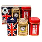 Exclusive English Tea - London Memories, 3 x 50g Tea Metal Caddies Combinatio...