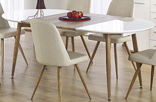 CARELLIA Set tavolo a pranzo ovale allungabile + 4Sedie