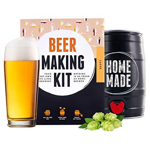Kit para elaborar Cerveza Artesana Lager en Casa - Producto de Alemania - Disfruta tu cerveza en sólo 7 días - Brewbarrel Braufässchen - Regalos para Hombres
