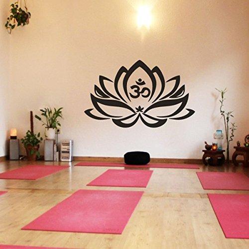 "Vinilo decorativo de pared, diseño de flor de loto con símbolo OM, yoga, mandala, arte adhesivo, vinilo, negro, 28""h x46""w"