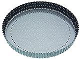 Master Class - Teglia Rotonda da Forno Antiaderente per Cucinare flan/Quiche croccanti e morbide, Colore: Grigio, Diametro: 30 cm