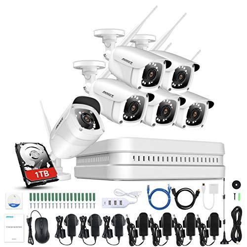 ANNKE Kit Videosorveglianza Wireless, Telecamere WiFi da esterno, APP Android/IOS, Visione Notturna, Sensore di Movimento, 8 Canali Kit 6 Telecamere 1080P 1TB HDD