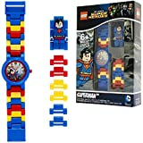 Reloj infantil modificable con figurita de Supermán de LEGO DC Comics Super Heroes; azul/rojo; plástico; 28 mm de diámetro; Cuarzo analógico  chico chica; oficial