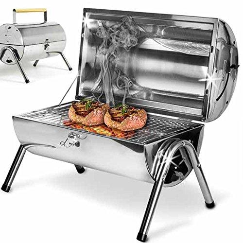 BAKAJI Barbecue Da Tavolo Con Griglia In Acciaio Inox Grill a Carbonella, con doppia zona di...