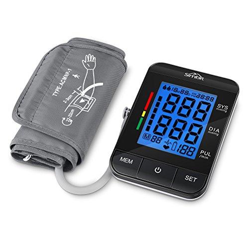 Misuratore di Pressione,SIMBR Sfigmomanometro da Braccio Schermo Retroilluminazione Memoria (2 ×...