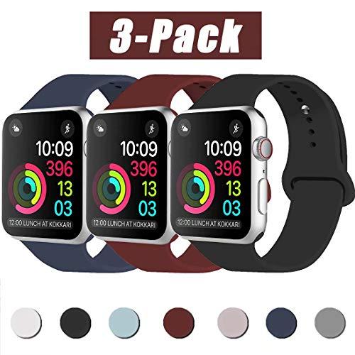 INZAKI Compatibile con Cinturino Apple Watch 38mm 40mm, Cinturino di Ricambio Sportivo Classico in Silicone Morbido per Braccialetto per iWatch Serie 5/4/3/2/1,S/M, Nero/Blu Notte/Vino Rosso