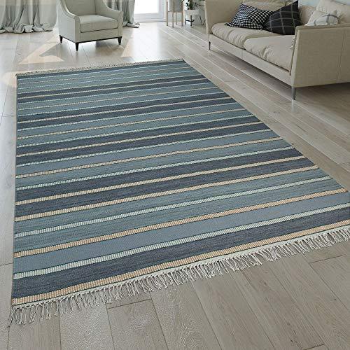 Annodato A Mano Kilim Tappeto Design A Strisce Prezioso con Frange in Turchese, Dimensione:60x110 cm