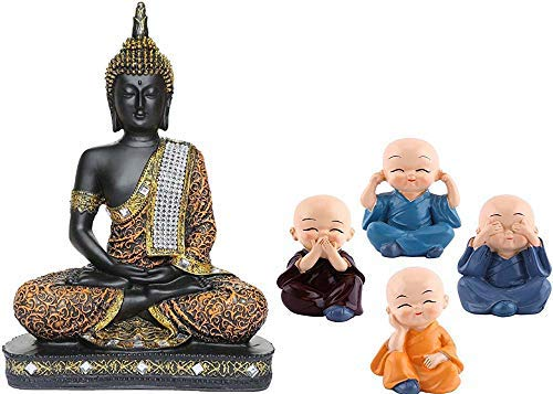 Global Grabbers Buddha Idol Statue Showpiece (Orange Black + Monk)