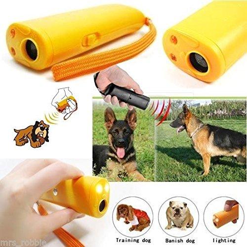 Generic 2 PCS Ultrasonic Dog repeller Training Device Anti Bark Barking Control LED Light Caravan Pet Yellow Factory