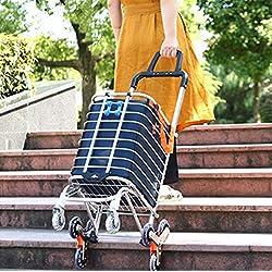 Arkmiido Carrito de Compras Plegable Tienda de comestibles portátil Utilitario Escalera Liviana Carro de Escalada con Ruedas giratorias giratorias y Bolsa de Lona extraíble Impermeable (Azul)