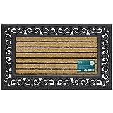 JVL Karina Heavy Duty Rubber Coir Door Mat, Fabric, Brown, 45 x 75 cm