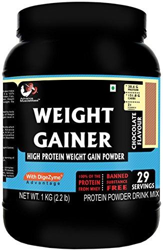 Advance Musclemass Whey Protein Weight Gainer Supplement Powder Chocolate 1 Kg Rawwhey