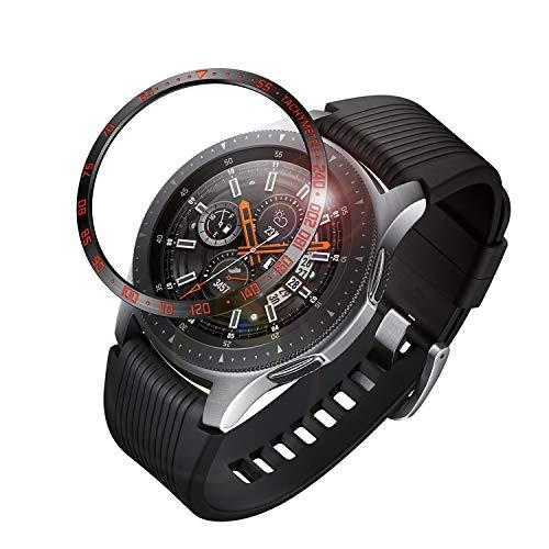 FINTIE Bezel Anello per Galaxy Watch 46mm & Gear S3 Frontier & Classic, Acciaio Inossidabile Protezione Custodia AntiGraffio Adesivo Cover Case, Nero/Rojo