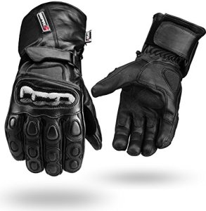 Winter Wasserdichte Leder Handschuhe Motorrad Knöchel Schutz - Schwarz 2