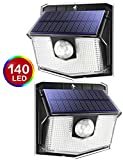 140 LED Solar Lights Outdoor, Mpow Motion Sensor Security Light with 3 Lighting Modes, 270°Wide Angle, IPX7 Waterproof Solar Wall Lights for Front Door, Yard, Garage, Fence, Deck,Dog House (2 Pack)