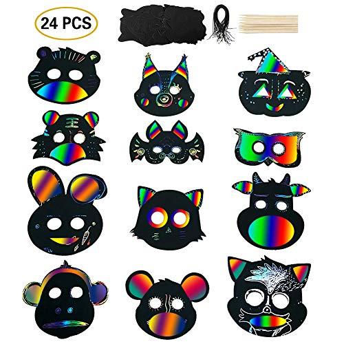 Queta 24 Pcs Masque Peinture DIY - Masque Dessin à Gratter Arc-En-Ciel pour Enfants Scratch Art,...