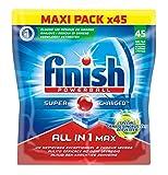 Finish All in One Max Détergent Lave-Vaisselle Spécial Graisses Incrustées 45 Tablettes