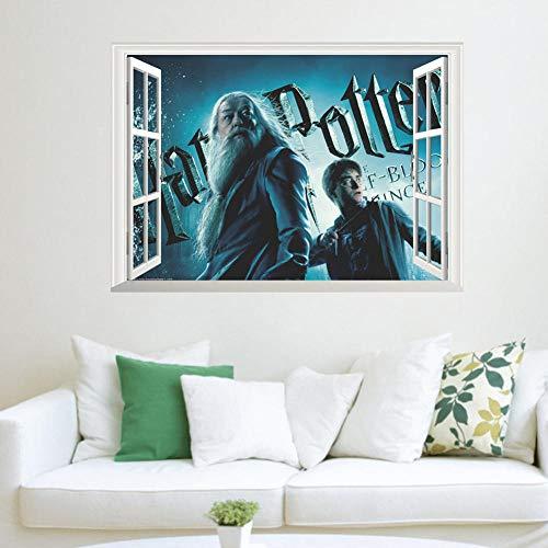 NYJNN Adesivi Murali Harry Potter finta finestra stereo effetto 3D adesivo da parete studio soggiorno divano sfondo decorazione della parete