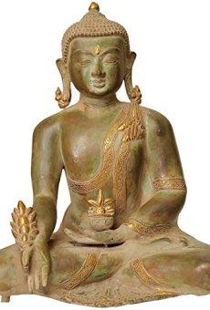 CraftVatika Grande Antiguo Acabado latón Medicina Buda Estatua Meditating curación Paz Budismo Figuras de Gran Escultura Fengshui Tibetano
