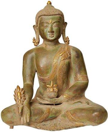 CraftVatika Grande Antiguo Acabado latón Medicina Buda Estatua Meditating curación Paz Budismo Figuras de Gran Escultura Fengshui Tibetano 3