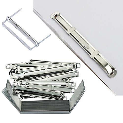 EDGEAM Büro Metall Verschlüsse Clips 2-teilig für Papier Mappen, Akten & Ordner (50 Stücke)