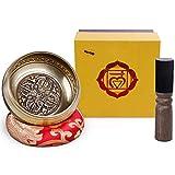 Rovtop Cuenco Tibetano a Mano para la Meditación Chakra Healing, Oración, Yoga, Budismo y Sanación a través de la Vibración Cuenco, Incluye un Cojín y la Baqueta (Dorado)