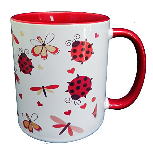 Half a Donkey Ladybirds, Butterflies & Flutterbyes Mug with Red Glaze Inner and Handle