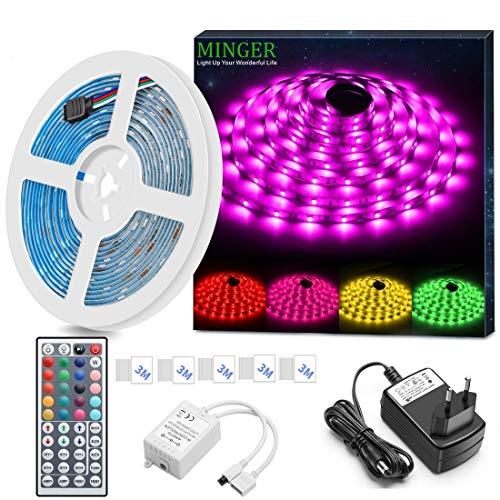 Striscia LED RGB 5M, Minger LED Striscia Impermeabile 5050 Cambiamento di colore Kit completo con 44...
