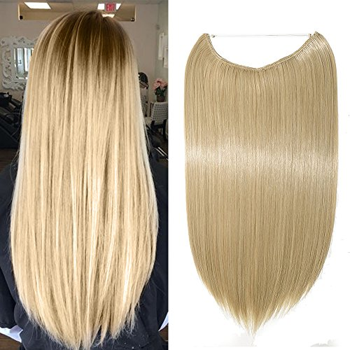 Extension per Capelli Lunghi Lisci Fascia Unica con Filo Trasparente 50cm - One Piece Hair Extensions 3/4 Full Head, Biondo Cenere mix Bleach Blonde