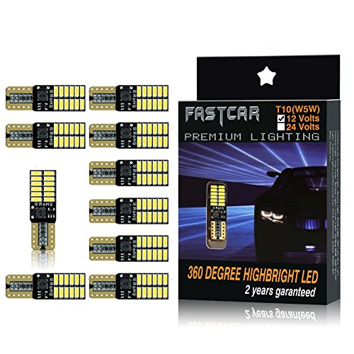 Fastcar 10pcs 194 W5W T10 led canbus no error cuneo lampadine 24 leds 4014SMD Luci di posizione...