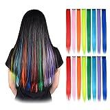 FESHFEN Postiches Extensions de Cheveux Mèches Colorés Raides Barette...