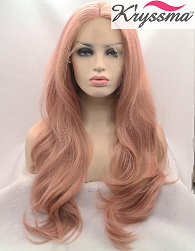K\'ryssma Fashion Baby Pink Wigs Long Wavy Lace Front Wig Mixed Color Light Pink Synthetic Hair Natural Looking Half Hand Tied Heat Resistant Fiber 22 inch