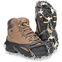 Deyard Traction Cleats Ice Snow Grips Unisex Zapatos Antideslizantes con 19 Spikes para Caminar, Correr, Escalar y Caminar en la Nieve y el Hielo (X-Large(Shoe Size: W 42-45+/M 42-47+))