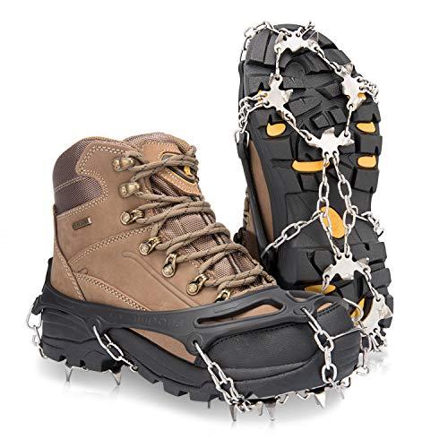 Deyard Traction Cleats Ice Snow Grips Unisex Zapatos Antideslizantes con 19 Spikes para Caminar, Correr, Escalar y Caminar en la Nieve y el Hielo (Medium(Shoe Size: W 34-40/M 38-40))