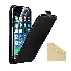 Kaufen EasyAcc iPhone 6 ECHT LEDER Hülle Lederhülle Handyhülle Flip Case für iPhone 6 4.7 Zoll + Schutzfolie und Reinigungstuch ECHT Leder Schwarz