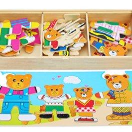 Toys of Wood Oxford Puzzle in Legno – Famiglia di Orsi con Set di Vestiti e Accessori –